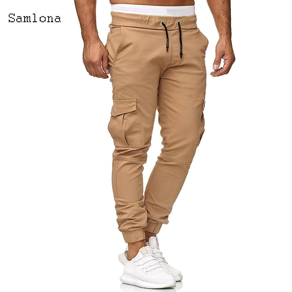 Men Pants New Fashion Men Jogger Fitness Pants Casual Slim Safari Style Pockets Drawstring Pencil Pants Men Trousers Size 3XL