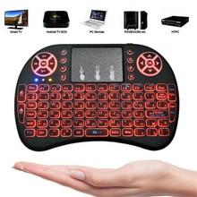 I8 Russisch Engels Spanje 3 kleuren verlicht toetsenbord Air Mouse 2.4 GHz wireless keyboard Handheld touchpad voor Android TV box v96