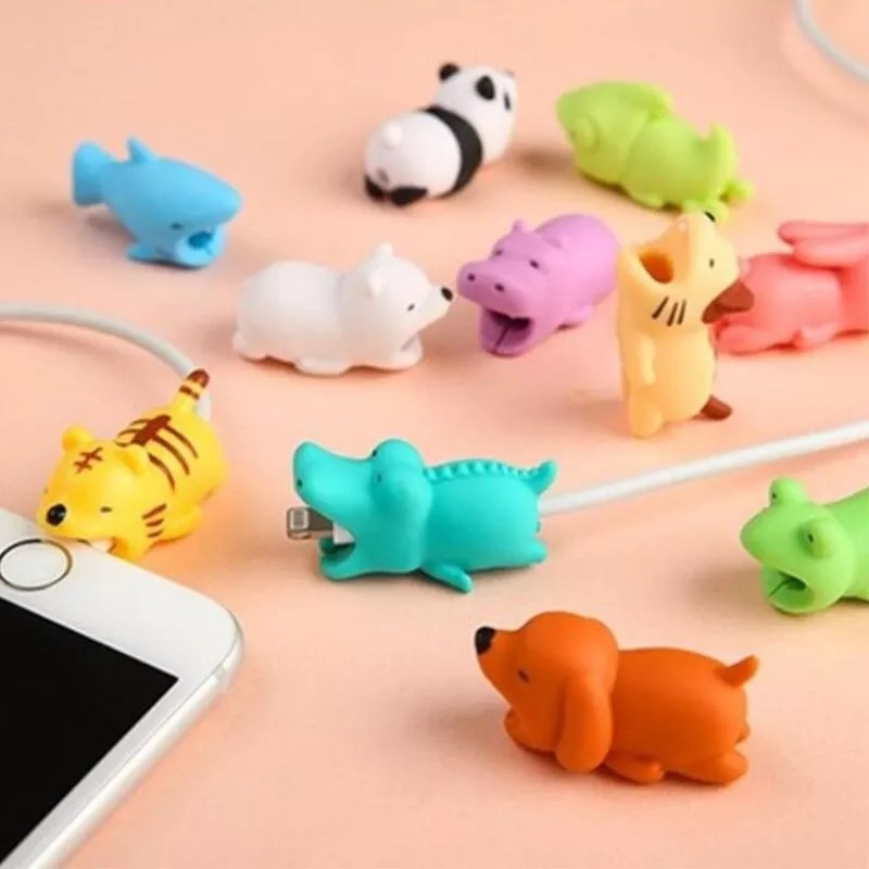 Japan USB Cable Organizer Bite Cellphone Decor Animal Protector Organizer Charger Wire Head Winder For Iphone 7 8 X Plus