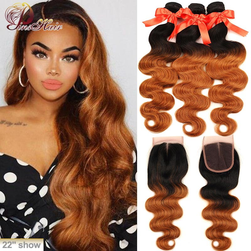 Pinshair Honey Blonde <font><b>Body</b></font> <font><b>Wave</b></font> <font><b>Bundles</b></font> <font><b>With</b></font> <font><b>Closure</b></font> 1B/30 <font><b>Ombre</b></font> <font><b>Bundles</b></font> <font><b>With</b></font> <font><b>Closure</b></font> <font><b>Peruvian</b></font> Human Hair <font><b>Wave</b></font> <font><b>Bundles</b></font> Remy Hair image