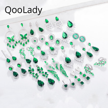 Qoolady 2019 New Hot Green Cubic Zirconia Stone Big Statement Flower Long Leaf Drop Earring for Women Wedding Party Jewelry E013