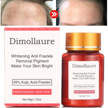 Dimollaure 50g pure 99% Kojic Acid powder face care whitening cream remove Freckle melasma Acne Spots pigment sunburn Melanin dimollaure herbal whitening cream kojic acid serum remove melasma freckle speckle sunburn spots pigment melanin acne face crea