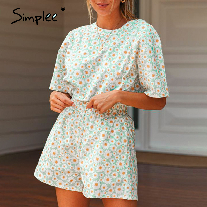 Simplee Two-piece floral print women set Casual short sleeve o-neck female t-shirt shorts set Spring summer holiday ladies suits