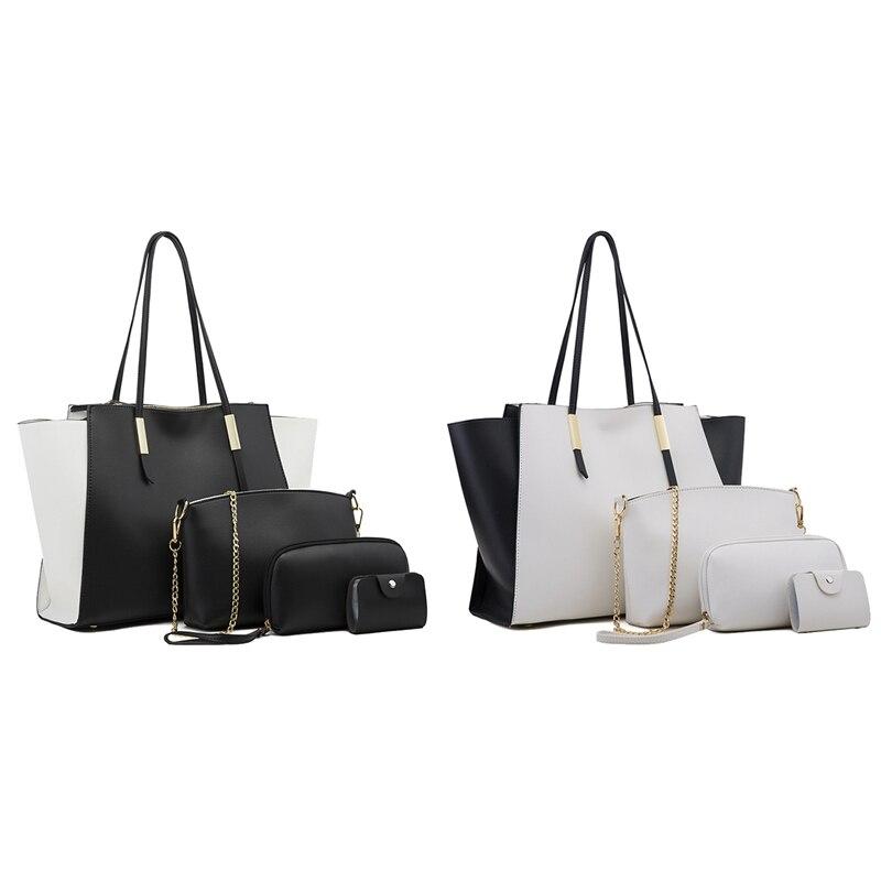 the New 8 Piece Set Ladies Handbag Women PU Leather Shoulder Messenger Bag Women's Compound Bag Tote Bag White & Black