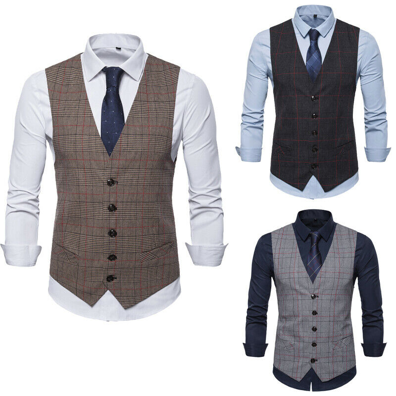 2020 New Fashion Men's Slim Fit Casual Blazer Vests Formal Tops Suit Vest Waistcoat Coat M-2XL