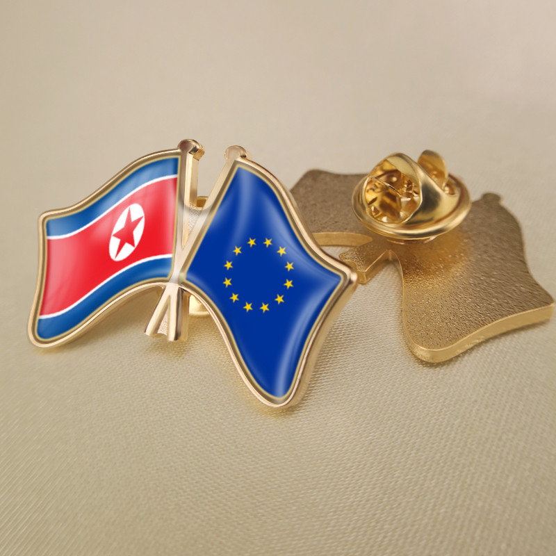 European Union and North Korea Crossed Double Friendship Flags Lapel Pins image
