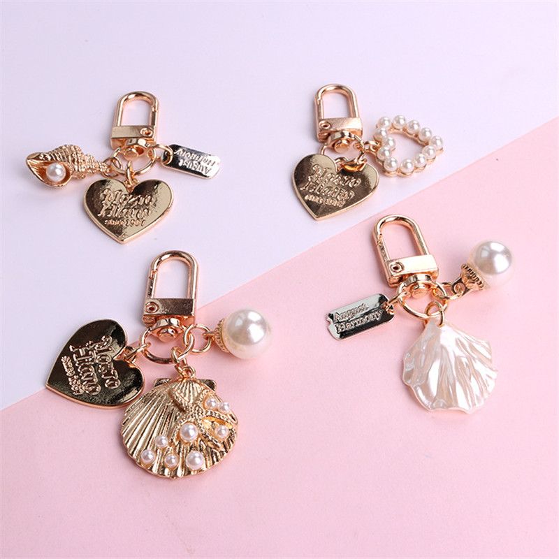 Cute Fairy Heart Shell Keychain Creative Alloy Pearl Conch Keyring Women Bag Ornament Jewelry Airpods Key Chain Pendant
