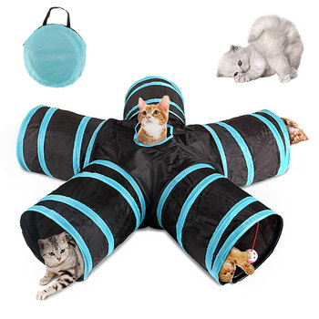 5 Holes Foldable Pet Cat Tunnel Indoor Outdoor Pet Training Interactive Toy for Cats Rabbit Animal Play Tunnel Tube Products