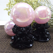 Cheap natural quartz ball aura pink sphere not included Base healing crystals stone for Home Decoration
