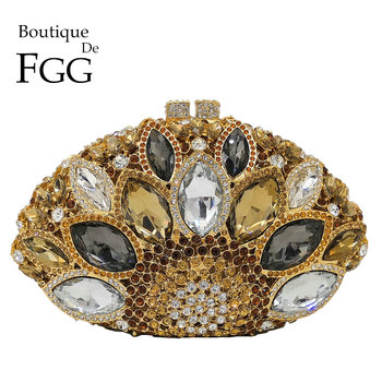 Boutique De FGG Hollow Out Women Peacock Crystal Clutch Bag Evening Bags Bridal Wedding Party Prom Handbag Purse Metal Clutches green crystal diamond flower floral purse fashion wedding bridal hollow metal evening purses clutch bag case box handbag female