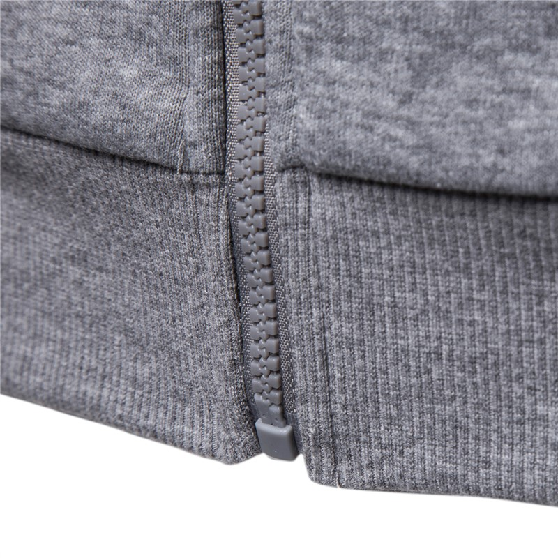 2019 New Autumn Winter Cotton Hoodied Mens Sweatshirts Solid Hoody Fleece Thick Hoodies Men Sportswear Zipper Sweatshirts Men 4
