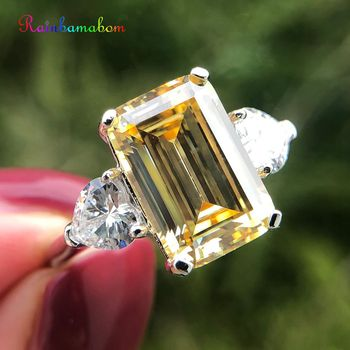 Rainbamabom 925 Solid Sterling Silver 7 CT Created Moissanite Citrine Gemstone Wedding Engagement Ring Fine Jewelry Wholesale фото