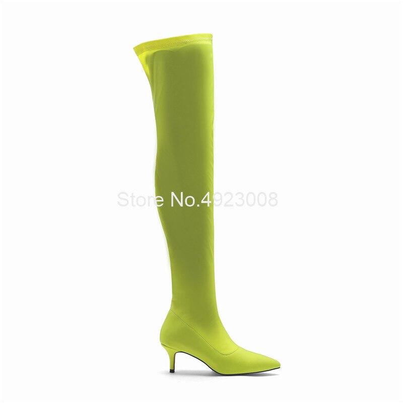 Эластичные зеленые сапоги из лайкры женские сапоги выше колена на среднем каблуке 5,5 см новые демисезонные сапоги до бедра без застежки Бол... - 2