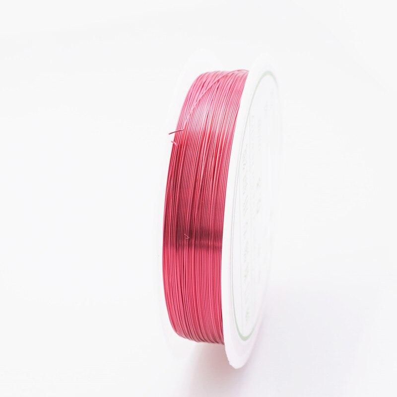 Четырехслойный разноцветный комбинезон серебро Медный провод для браслет Цепочки и ожерелья самодельные Украшения, Аксессуары 0,2/0,25/0,3/0,5/0,6/1,0 мм ремесло Бисер провода HK018 - Цвет: Rose red