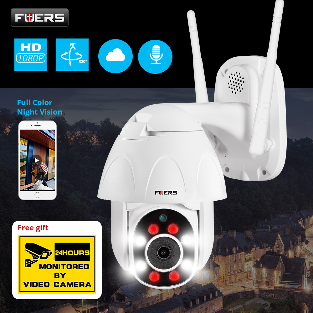FUERS 1080P Outdoor PTZ IP Camera CCTV Security Speed Dome Camera Surveillance WIFI Cloud Storage Night Vision Motion Detection