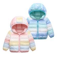 Dziewczyna Rainbow gradientowa kurtka bawełna ciepły płaszcz dla dziewczynki jesienno-zimowa niemowlę chłopiec dół kurtki dziecięca odzież wierzchnia odzież dziecięca tanie tanio Y5Y6 NYLON Poliester 0 35kg CN (pochodzenie) Aktywny Białe kaczki dół Stałe REGULAR printing Z kapturem Kids Jacket
