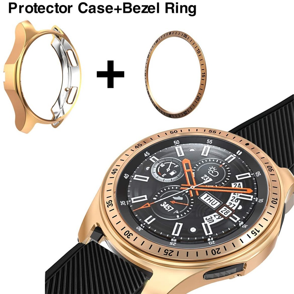 Bezel Ring + case for Samsung Galaxy <font><b>watch</b></font> Gear S3 Frontier Classic 46mm <font><b>42mm</b></font> <font><b>huawei</b></font> <font><b>gt</b></font> <font><b>2</b></font> 46mm Cover Protector Bezel Loop + Case image