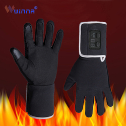 Winter Electric Heating Gloves with Sheepskin Three-modes Thermostatic Heated Mittens for Women Men Windproof Touch Screen Glove