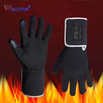Zimowe elektrycznie podgrzewane rękawice z owczej skóry trzy tryby termostatyczne podgrzewane rękawiczki dla kobiet mężczyzn wiatroodporna rękawica do ekranów dotykowych tanie i dobre opinie winna etech Unisex Kaszmirowy Prawdziwej skóry NYLON Poliester Dla dorosłych Stałe Nadgarstek Moda WNGH2-9722 Heated gloves