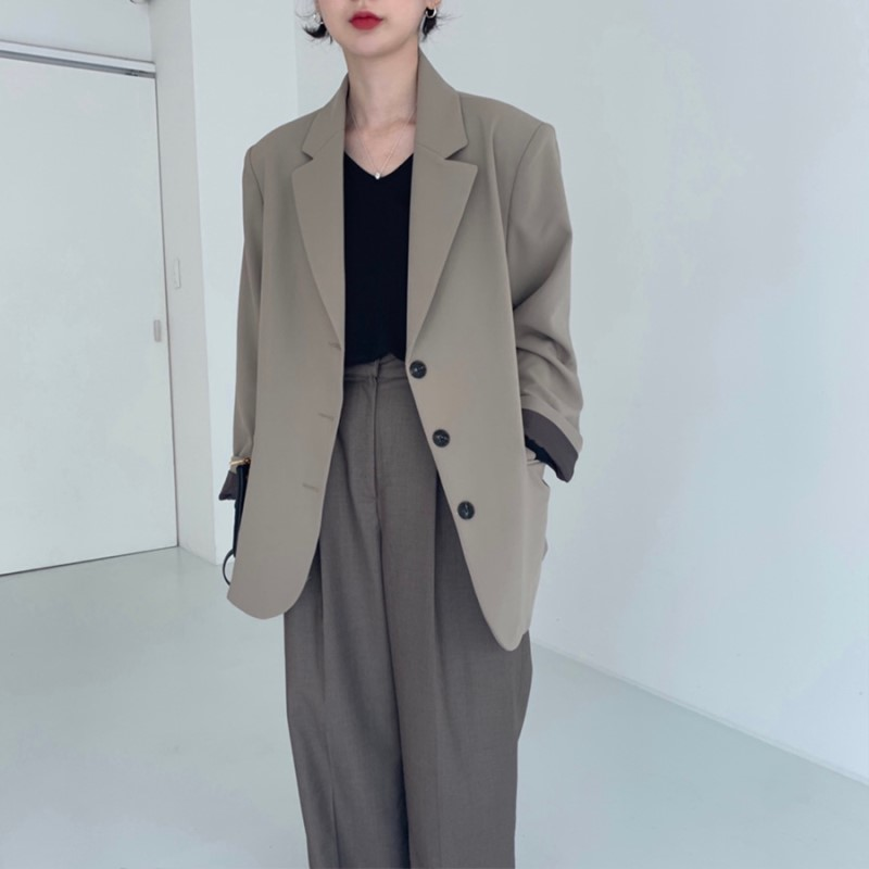 HziriP 2020 New Suit Coat Female Single-breasted Casual Blazer Vintage Basic Women Blazers Solid Notch Collar Jacket Femme