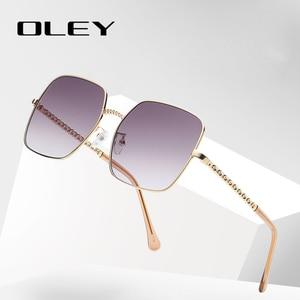 Женские квадратные солнцезащитные очки OLEY, Винтажные Солнцезащитные очки в оправе из сплава, Классические брендовые дизайнерские очки