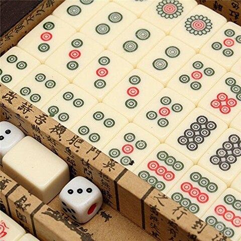Conjunto de Mahjong Jogo de Tabuleiro Conjunto de Entretenimento Telhas Mahjong Chinês Numerado Portátil Inglês Brinquedo Antigo Mah-jong Essentials 144 Mod. 313715