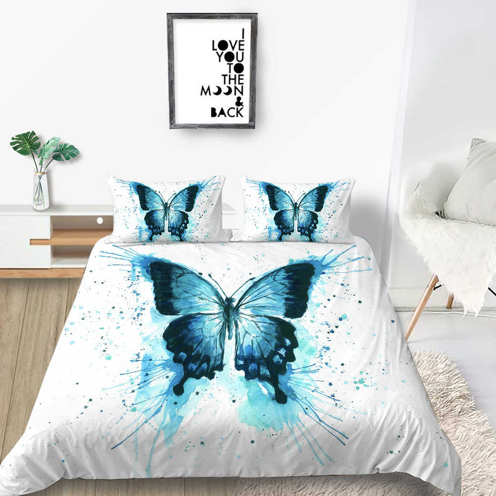 Blue Butterfly Bedding Set Simple High End 3d White Duvet Cover Queen King Twin Full Single Double Unique Design Bed Set Bedding Sets Aliexpress