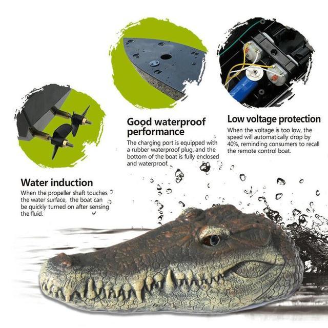 Nouveau V005 RC t te de Crocodile 2 4G t l commande RC bateau blague blague