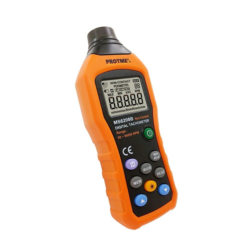 Бесконтактный цифровой тахометр 50 ~ 99999 ОБ/мин, измеритель скорости вращения, тестер с 100 групп, запись данных, хранение данных, Макс/мин/Авг