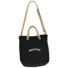 Fashion new casual literary female shoulder messenger bag portable large capacity letter canvas big women  Canvas