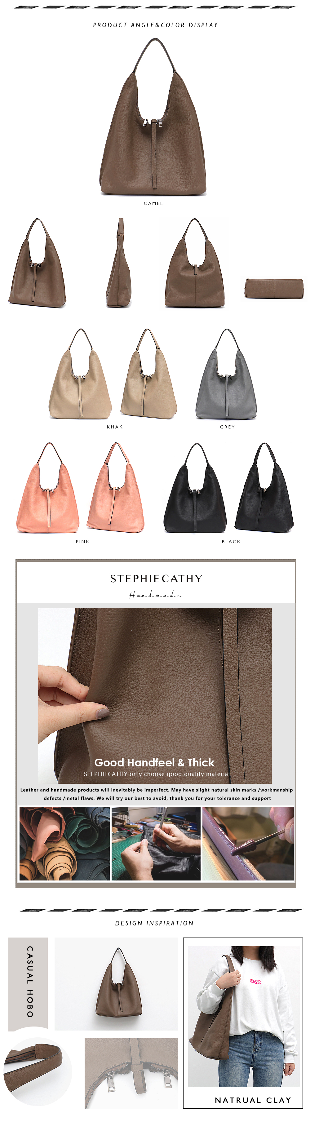 High Quality genuine leather hobo bag