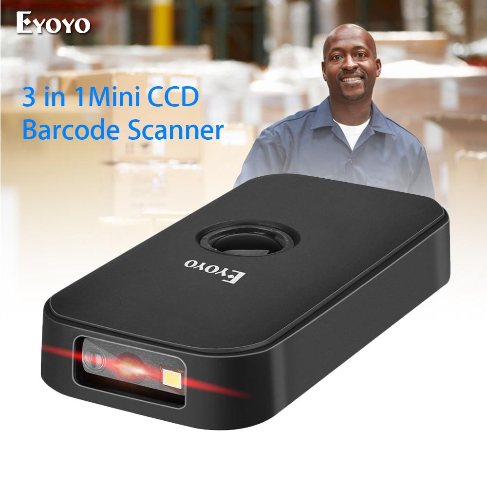 Eyoyo EY-009C Barcode Scanner CCD 2.4G กระเป๋า BT สาย 3-in-1 โหมดการเชื่อมต่อถอดรหัสความสามารถ MINI เครื่องสแกนบาร์โค้ดไร้ส...