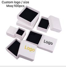 100pcs/lots jewelry gift paper boxes White Custom packaging box with logo Ring Necklace Bracelets Earring Gift Packaging Box
