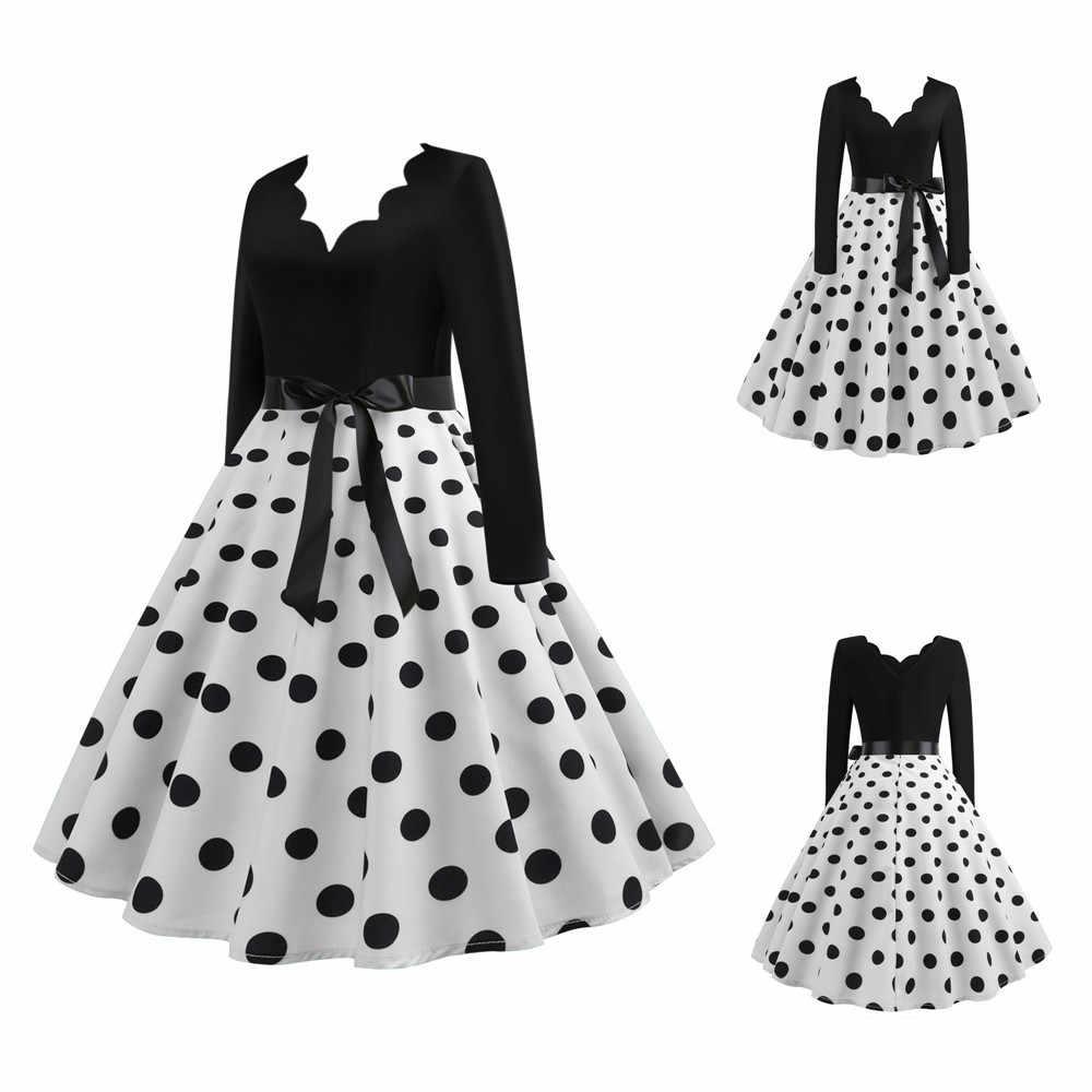 Beyaz Polka Dot elbise kadınlar uzun kollu Vintage Pin Up gotik bahar kış yeni yıl parti elbiseler artı boyutu 3XL siyah Vestidos