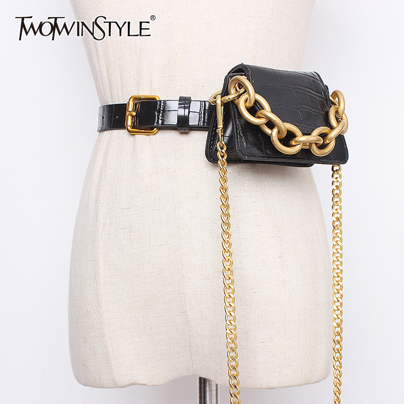 TWOTWINSTYLE Elegant Patchwork Packages Women Girdle Chain PU Leather Casual Girdles For Female Fashion 2020 Summer Accessories