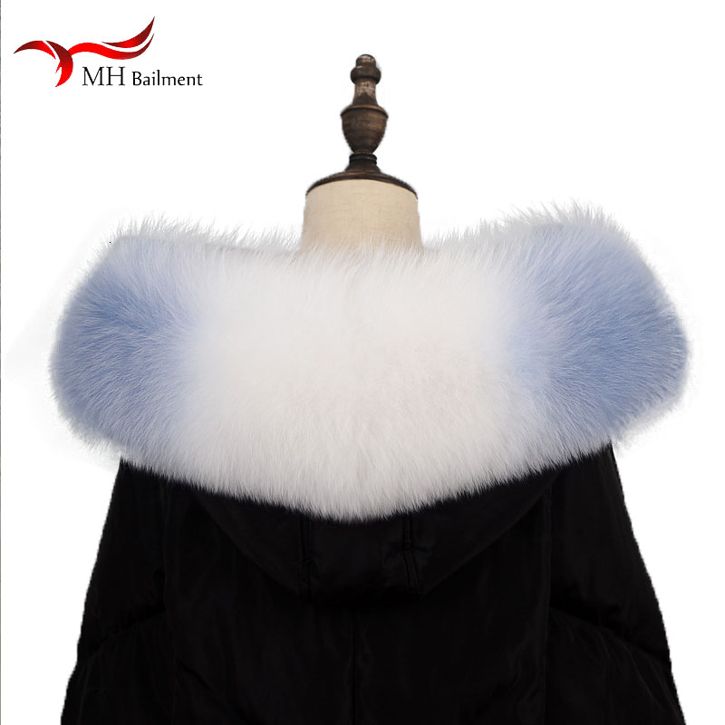 Naturel collier de fourrure hiver nouveau dames écharpe 100% réel raton laveur écharpe hommes et femmes enfants Parkas mâle de luxe col de fourrure couleur 75 cm