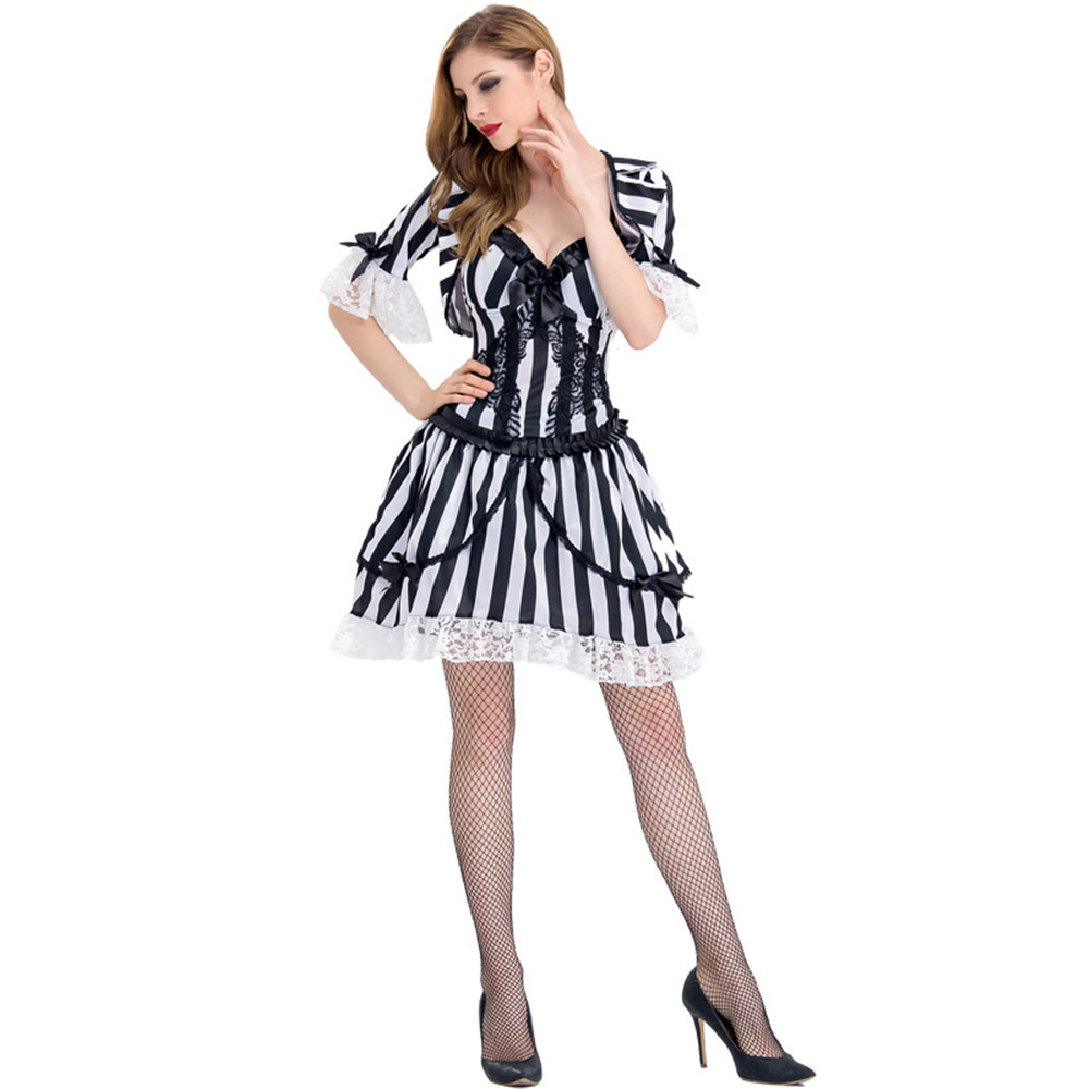 Beetlejuice Costume Adult Female Halloween Fancy Dress