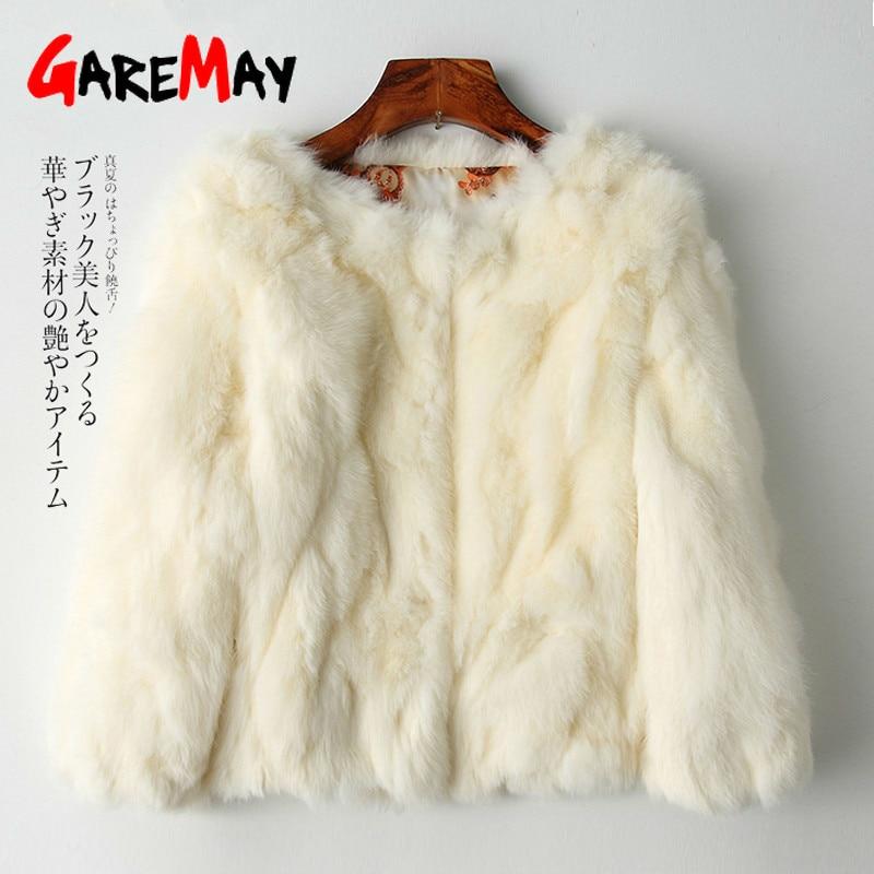 GareMay Real Rabbit Fur Jacket for Women Long Sleeve Plus Size Overcoat Women's Short Real Rabbit Coat Female Warm Plush Coats|Real Fur| - AliExpress