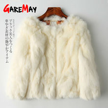 GareMay Real Rabbit Fur Jacket for Women Long Sleeve Plus Size Overcoat Women's Short Real Rabbit Coat Female Warm Plush Coats(China)