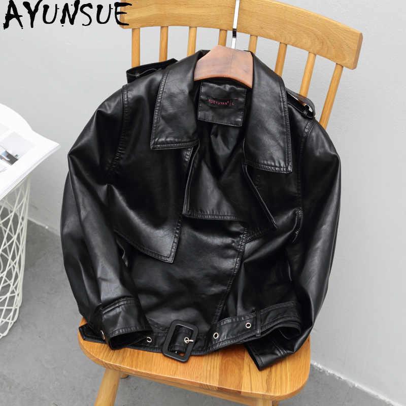 AYUNSUE 2019 PU skórzana kurtka kobiety czarny koreański motocykl płaszcz skórzany krótki Biker Faux skórzane kurtki kobiety 2019 KJ3084