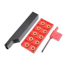 SRAPR2020K10 Soporte de herramienta de torneado con cuchilla de torno externa, barra de perforación + 10 Uds. De insertos RPMT10T3MO + llave Mayitr