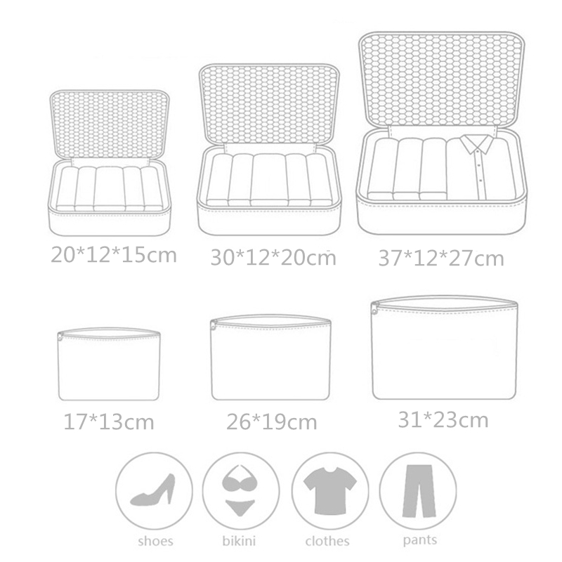New Travel 6PCS/Set High Quality Oxford Cloth Mesh Bag In Luggage Organizer for Clothing Packing Clothes Cube Organiser XYLOBHDG