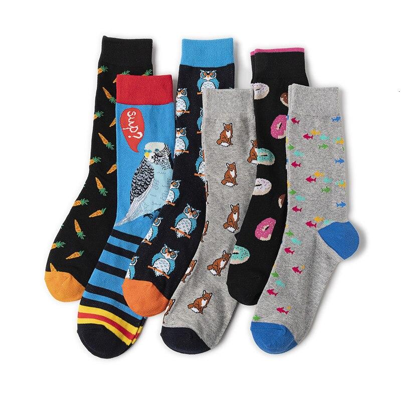 Fashion Harajuku Hip Hop Street Trend Men Combed Cotton Socks Creative Owl Fox Doughnut Novelty Pattern Happy Casual Skate Socks