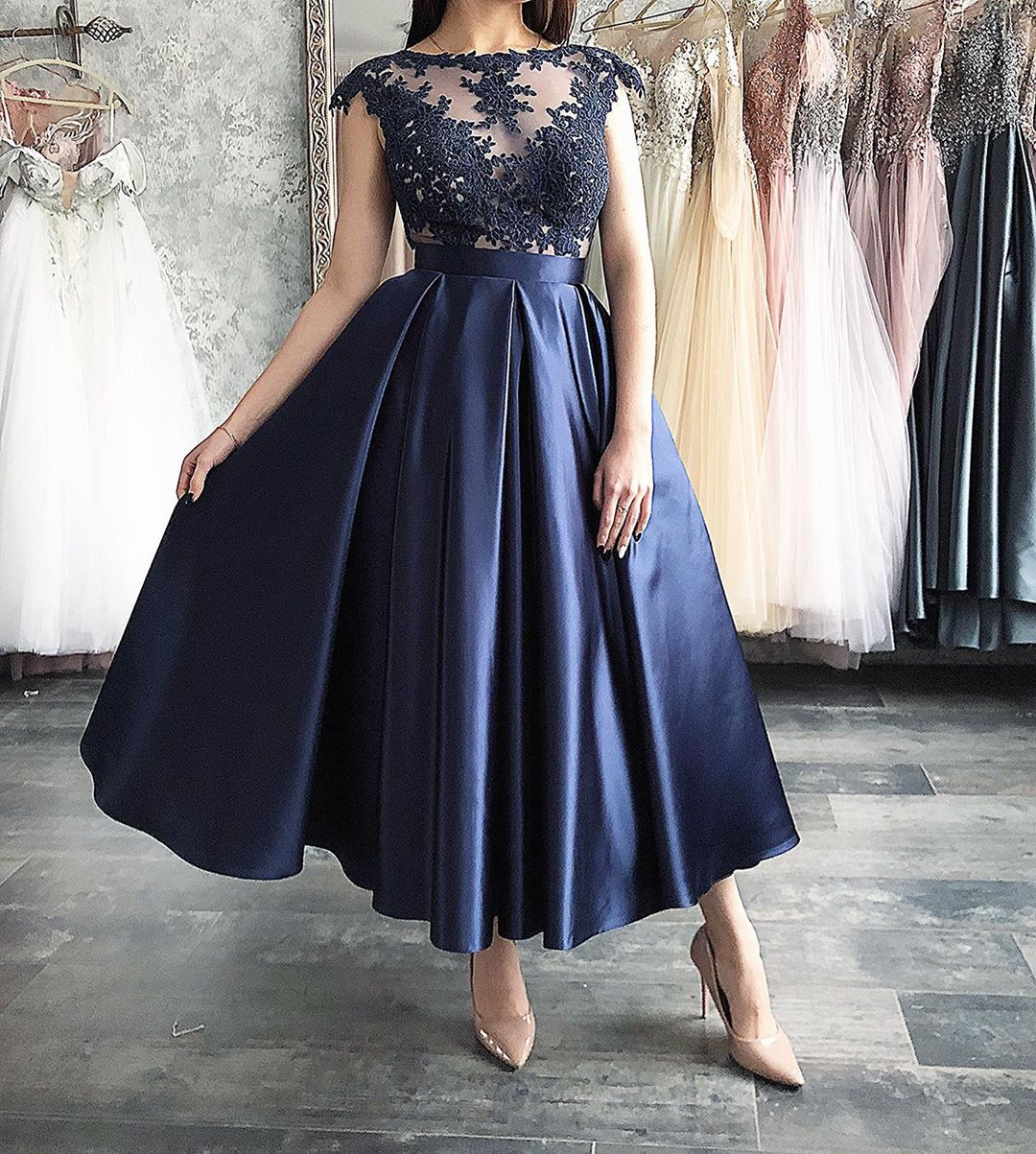 Sexy Elegant Women Cocktail Dresses Navy Blue Dresses Prom Dresses 2019