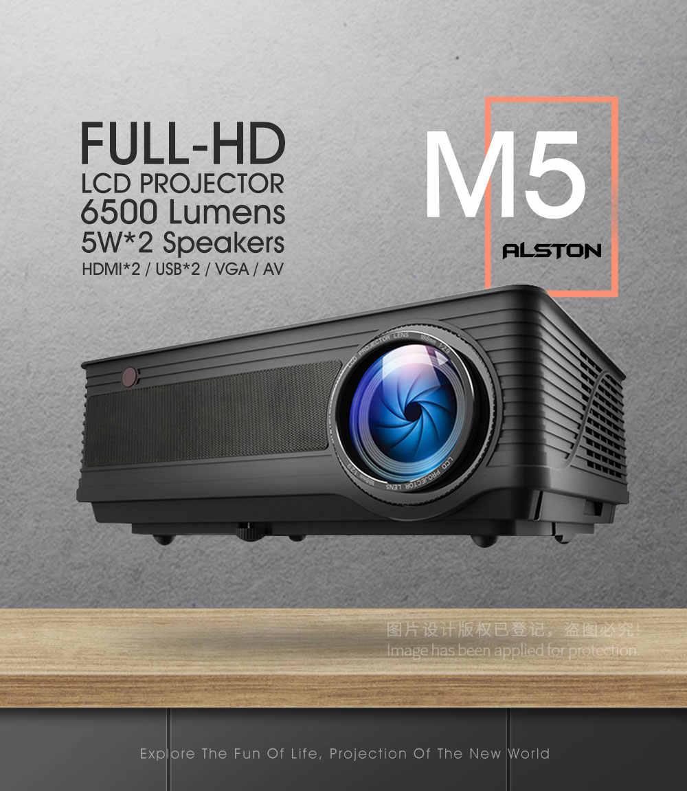 ALSTON M5 M5W Full HD 1080P Proyector 4K 6500 lúmenes cine Proyector Beamer Android WiFi Bluetooth hdmi USB VGA AV con regalo