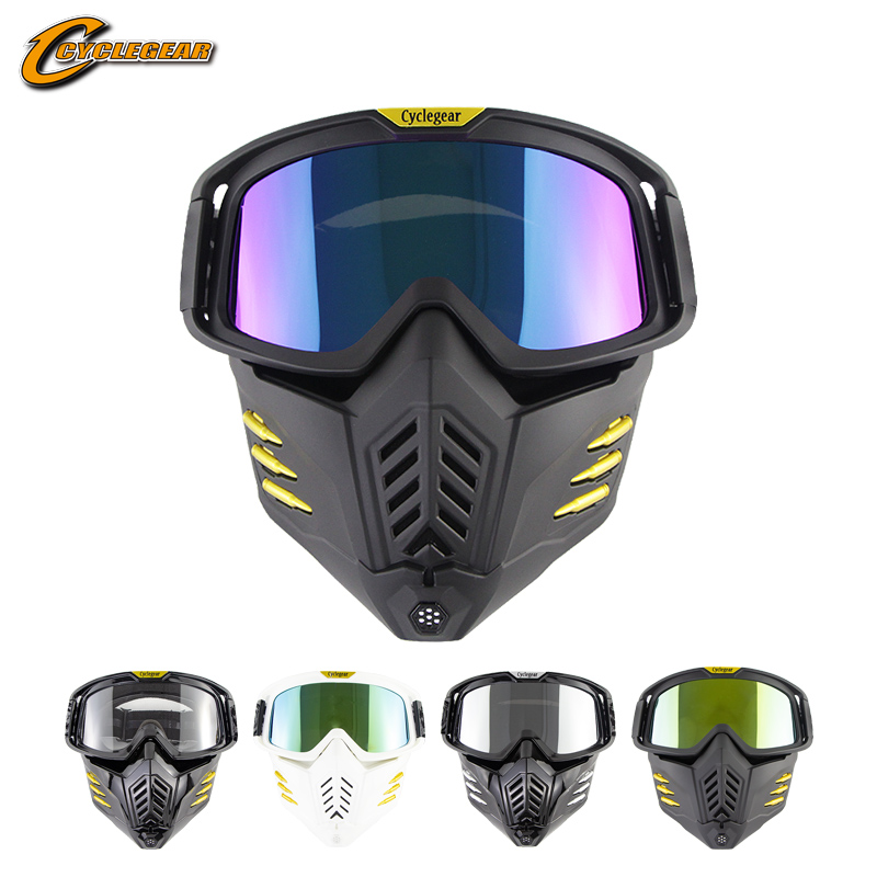 Cyclegear masque lunettes de Motocross Moto Oculos raccord pour casque visage ouvert double usage masque lunettes HD Gafas Moto CG18