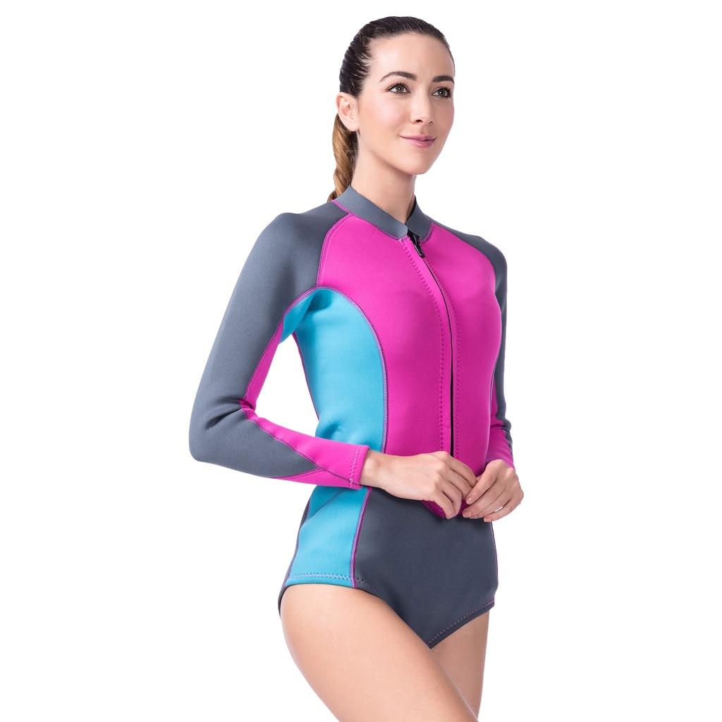 Femmes 3mm néoprène surf combinaison 1 pièce maillot de bain manches longues avec fermeture éclair Bikini Style combinaison pour les Sports nautiques - 3