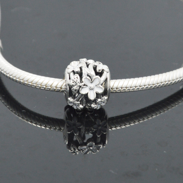 2020 nouveau réel 925 argent Sterling caniche chiot chien balancent breloque forme pandora bracelet abeille Mine perle impression coeur breloque bijoux à bricoler soi-même