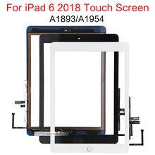 Digitalizador de vidro para ipad, tela touch screen lcd para ipad de 2018 geração 6 e 6 tela lcd, painel a1893 a1954, 1 peça