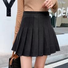 Pleated skirt Female autumn and winter new High waist Korean version A-line skirt Thin Plus size skirt New pleated skirt Loose